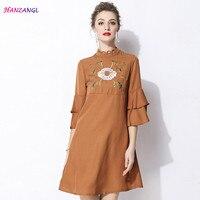 HANZANGL New Arrive 2018 Spring Summer Women Dress Elegant Vintage 3 4 Sleeve Work Office Casual