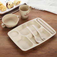 6pcs/set Wheat Material Children Tableware Set Baby Dinnerware Plate Dishes Bowl Spoon Dinnerware Feeding Set Food Container