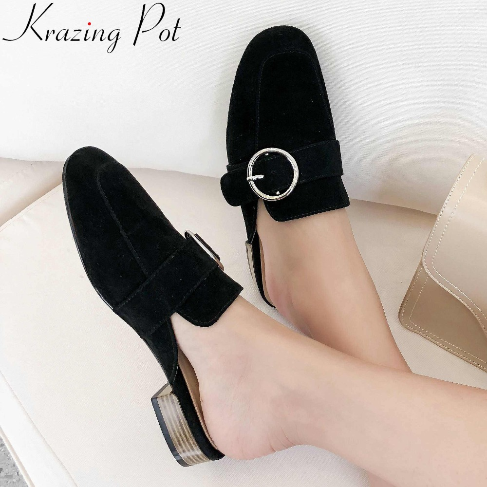 Krazing Pot elegant lady handmade natural leather buckle decoration slip on square toe mules outside gorgeous party slippers L69Krazing Pot elegant lady handmade natural leather buckle decoration slip on square toe mules outside gorgeous party slippers L69