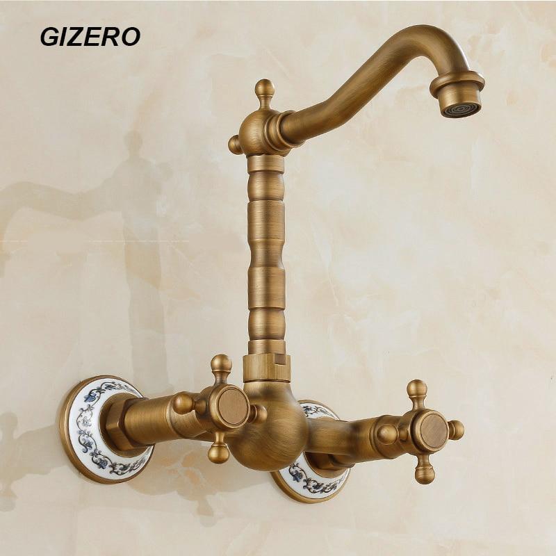2018 Dual Holder Wall Mount Kitchen Faucet Kitchen Brass: Aliexpress.com : Buy Antique Brass Classic Swivel Faucet