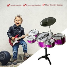 Musical Instrument Toy For Children 5 Drums Simulation Jazz Drum Kit with Drumsticks Educational Musical Toy for Kids Xmax Gift