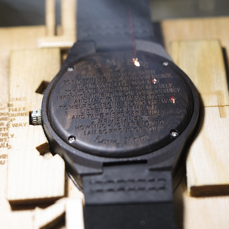 Personalized Ebony Wooden Wrist Watch for Son / Wife / Lover 15