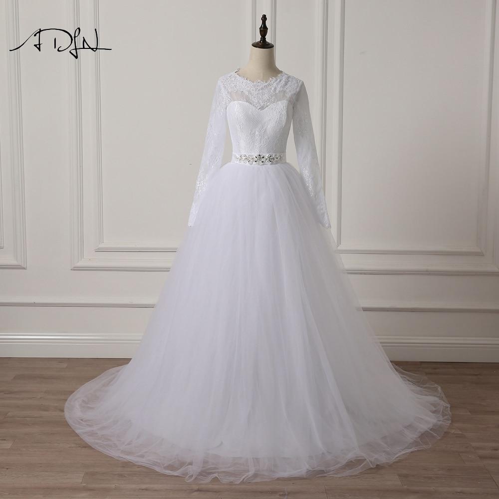 ADLN Elegant Scoop rochie de mireasa cu maneca lunga Lace A-line Alb - Rochii de mireasa - Fotografie 1