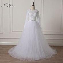 ADLN Eleganta Långärmade Bröllopsklänningar Lace A-Line Vit / Elfenben Muslim Arabic Bridal Gown Plus Storlek Tillgänglig