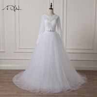 ADLN Elegant Scoop Long Sleeve Wedding Dresses Lace A Line White Ivory Muslim Arabic Bridal Gown