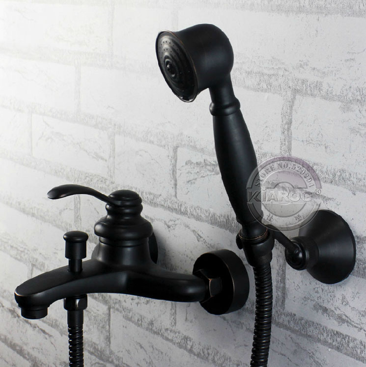 Wall Mounted One Handle Tub Faucet Amp One Hand Shower Black