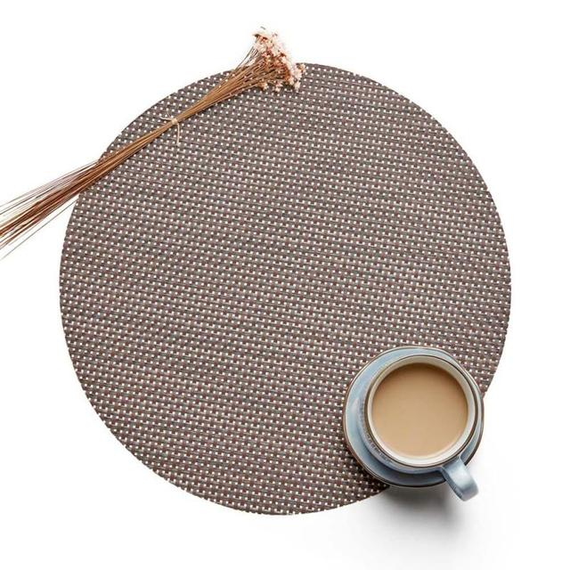 Round Woven Pvc Tableware Placemat Teslin European Non Slip Insulation Table Pad Pot Mat Disc Cups Bowls Dining Cushion Wt