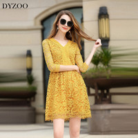DYZOO 2018 New Fashion Lace Women Dress V Neck Slim Bodycon Elegant Female Party Dress Hollow