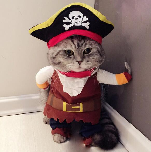 1pcs dogs cats cool fashion pirate costume doggy overcoat puppy funny clothes suit pet dog cat hoodies hoodies apparel S-XL