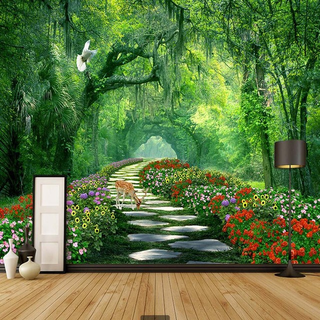 Nature tree 3d landscape mural photo wallpaper for walls 3 for Nature wallpaper for bedroom