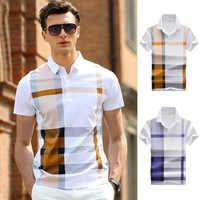 ZOGAA verano hombres Polo Camisas manga corta algodón Polo camisas hombre solapa botón Patchwork negocios Casual Polo camisas 2019 caliente