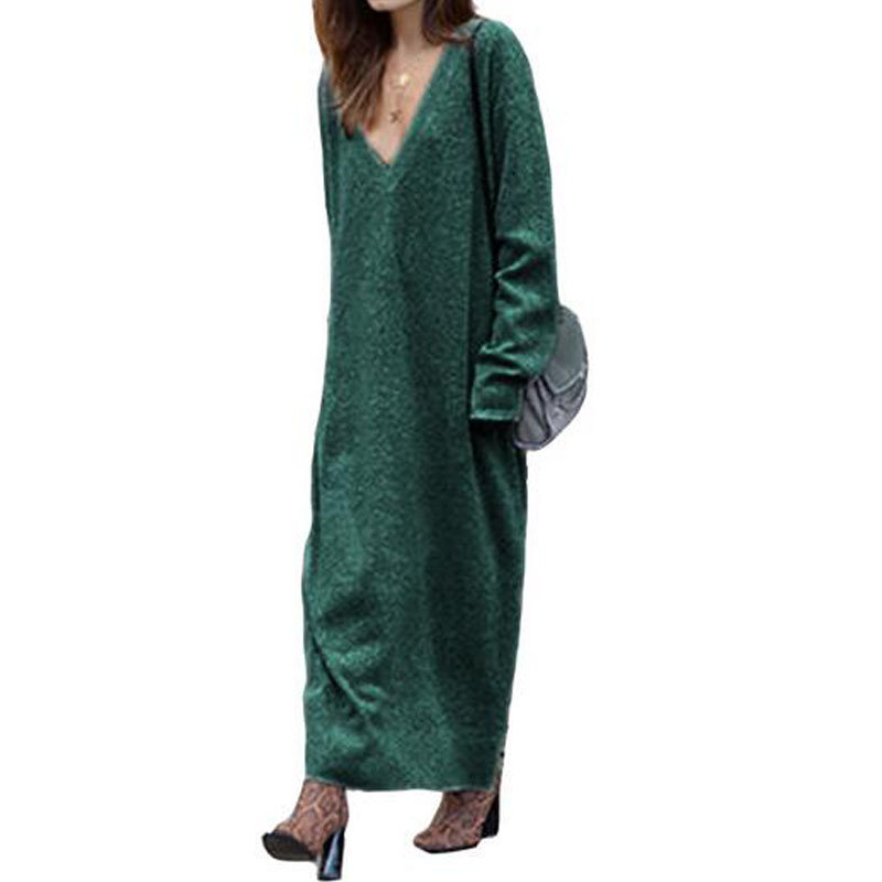 Women Long Sleeve Loose Long Dress New Autumn Winter Knitted Dress V Neck Long Dresses Solid Women Robe Female new arrival 2018 autumn knitted dresses fashion women long sleeve v neck knee length dress casual solid female dress clothes
