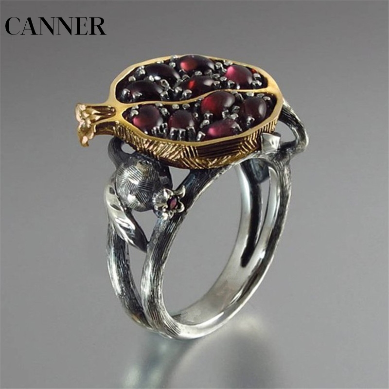 CANNER creux grenat Vintage anneaux pour femmes bijoux accessoires rouge foncé ovale coupe solide Engagement rotin fruits Punk anneau R4
