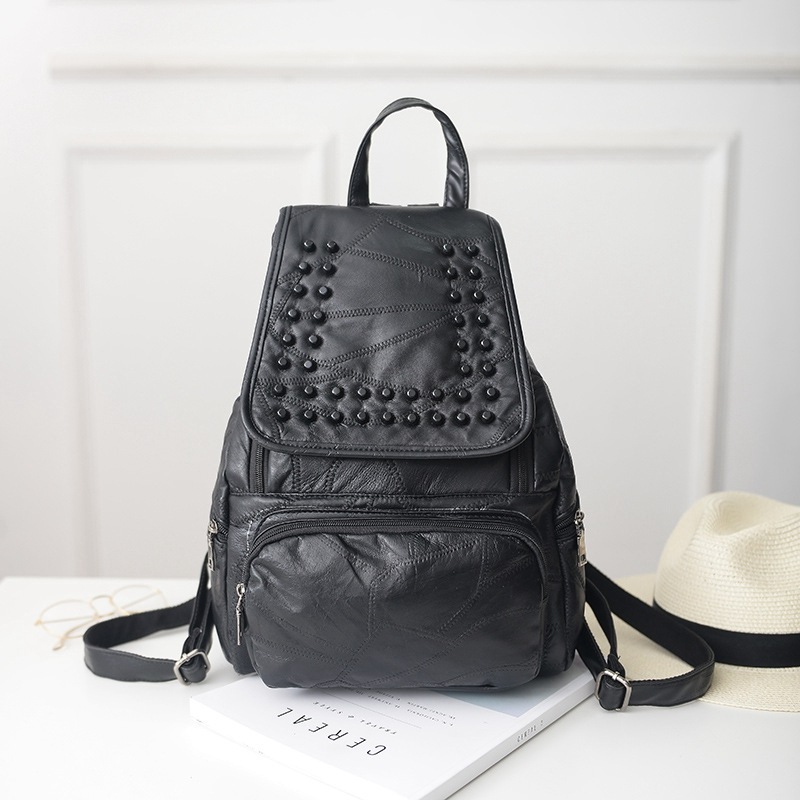цена New Women Black Backpack Genuine Leather Black Shoulder School Bags For Teenagers Girls Female Casual Travel Bags Feminina Purse