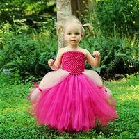 2016 New Design Sleeping Beauty Costume Baby Girls Dress Hot Pink White Baby Girls Clothing Set