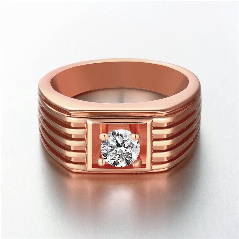 Fabulous 24K Yellow Gold / Rose Gold / White Gold Color Men Ring, Round  RA09