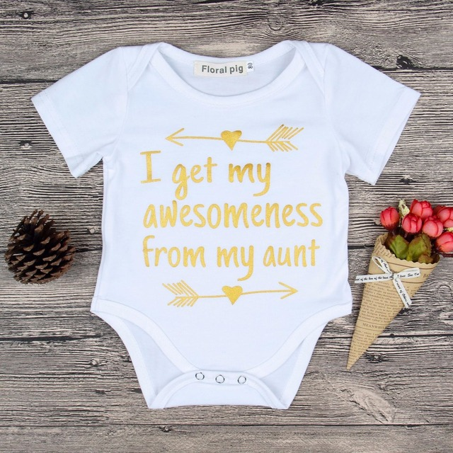 2018 Cute Baby Boys Girls White Onesie Short Sleeve Awesomeness From My Aunt Print Toddler Newborn Bodysuits Baby Summer Clothes