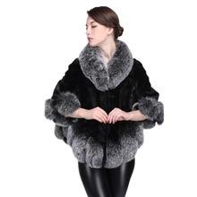 Big Fox Fur Collar Real Mink Fur Coat Women Fur Outewear Bat shirt winter jacket women plus size women clothing
