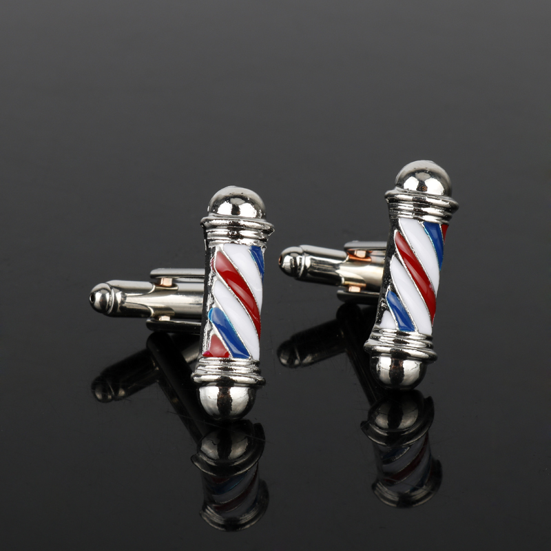 dongsheng Tie Clips&Cufflink Series Barber Shop Barber Pole Cufflinks Men Shirt Cuff Buttons Jewelry CuffLinks New Accessories