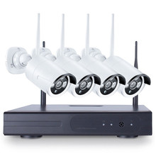 Safurance Wireless 4PCS 4CH CCTV Wireless 960P NVR DVR 1.3MP IR Outdoor P2P Wifi IP Security Camera Video Home Security
