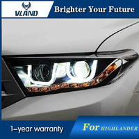 Car Styling Headlights For Toyota Highlander 2012 2016 Retrofit HID Projector Headlights Assembly Bi Xenon Lens Double Beam HID