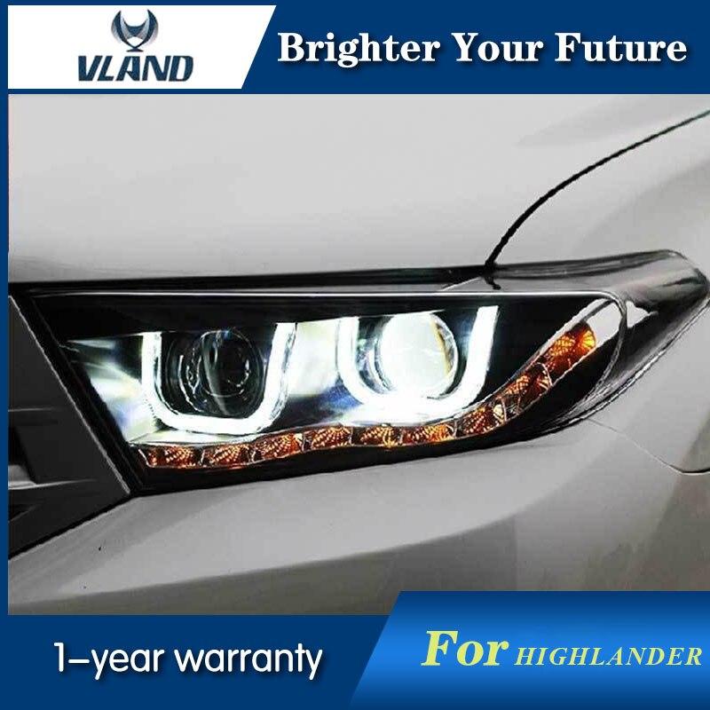 Phares de style de voiture pour Toyota Highlander 2012-2016 assemblage de phares de projecteur HID Double faisceau de lentille bi-xénon HID