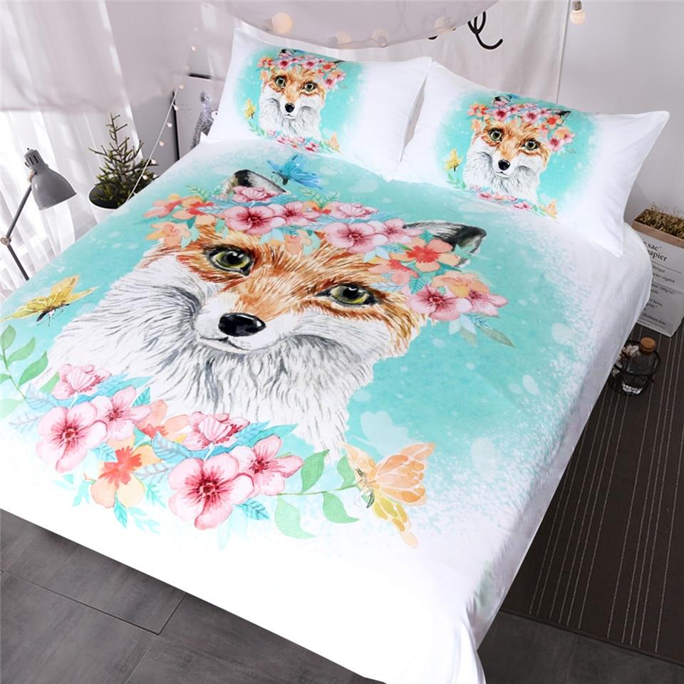 Blessliving Fox Girls Bedding Set Pink Floral Duvet Cover Set
