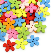100pcs Multicolor Wooden Buttons 15x15mm 2 Holes Mixed Flower for Crafts DIY Sewing Scrapbooking Supplies
