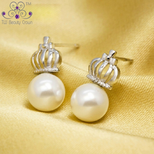 Real 925 Sterling Silver Vintage Round White Color Shell Pearl Crown Stud Earrings Brincos For Women Female Girl Fashion Jewelry