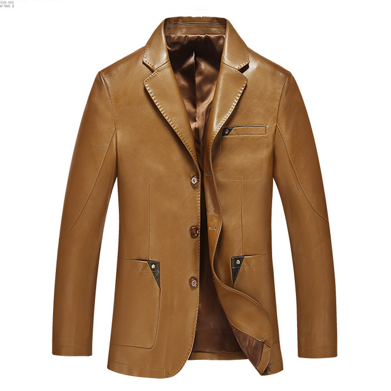 Men leather suit  2018 spring and autumn blazer male sheepskin suit tops genuine split leather slim jacket black brown coat
