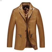 Men leather suit 2019 spring and autumn blazer male sheepskin suit tops genuine split leather slim jacket black brown coat
