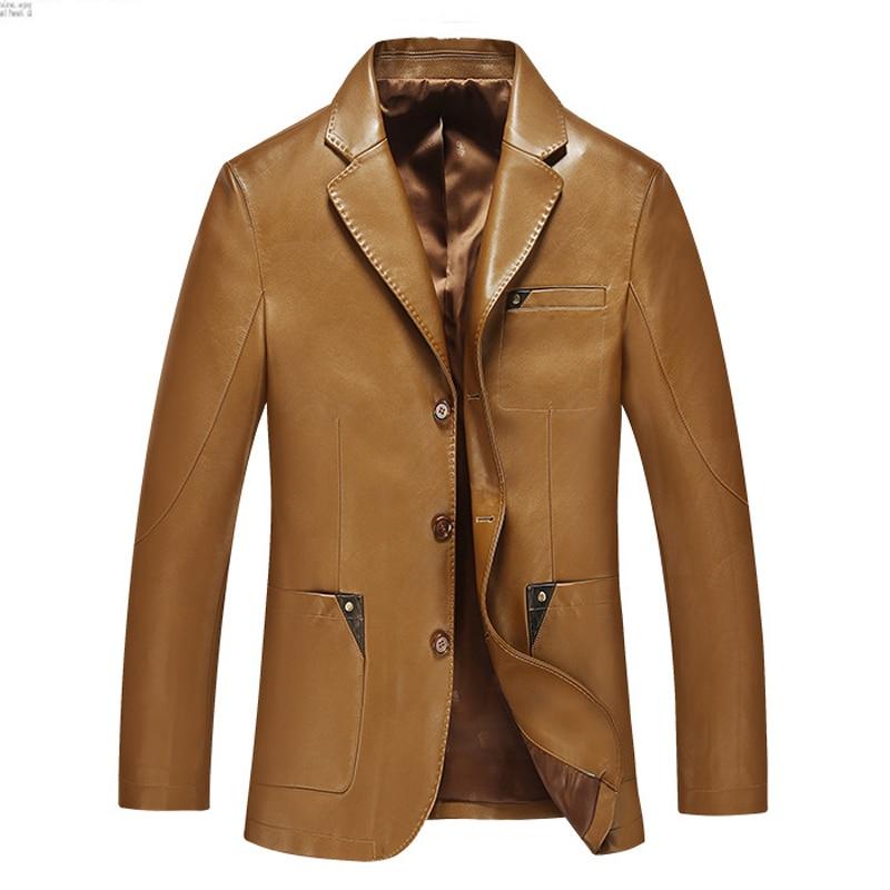 Mænd læderfarve 2019 forår og efterår blazer mandlige fåreskind dragt toppe ægte split læder slank jakke sort brun frakke