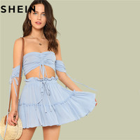 SHEIN Summer Outfits For Women Two Pieces Set Boho Beach Vacation Drawstring Crop Bardot Tops And