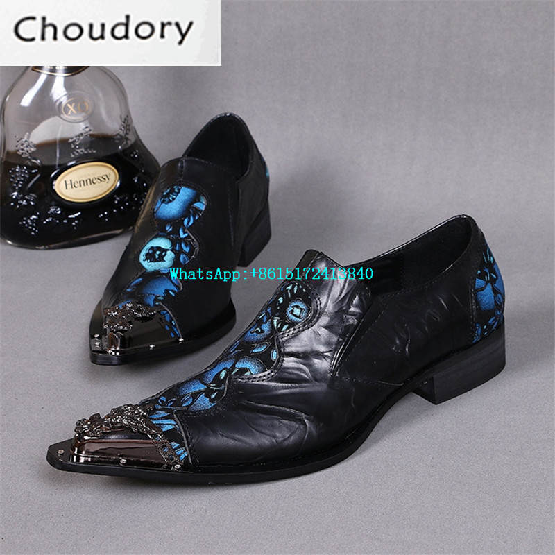 Choudory Height Increasing Mixed Colors Casual Shoes Pointed Toe Breathable Med Heels Carve Plicated Steel Toe Work Shoes Men