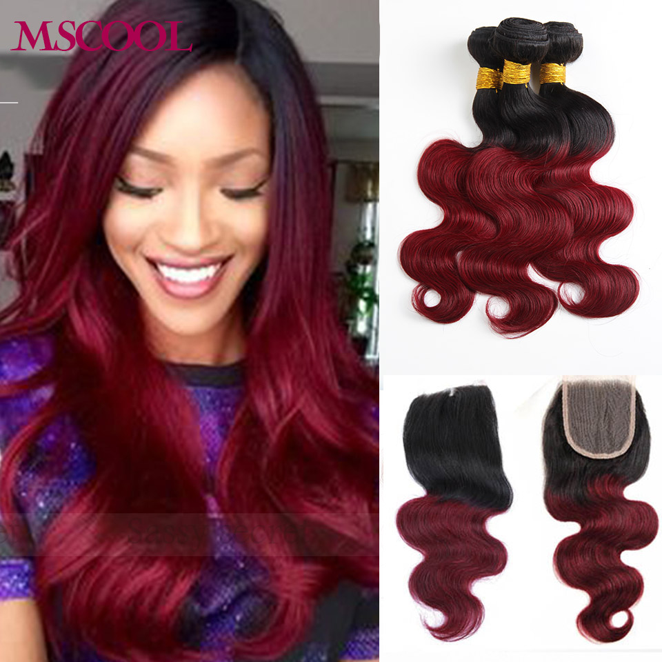 7A Burgundy Ombre Brazilian Hair With Closure Body Wave 3/4 bundles  Cheap 1b 99j Red Ombre Brazilian Virgin Hair With Closure