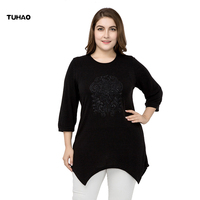 TUHAO Female Cotton Irregular Hem Opening Blouses Lace Patchwork Hollow Out Three Quarter Sleeve Blouses Plus