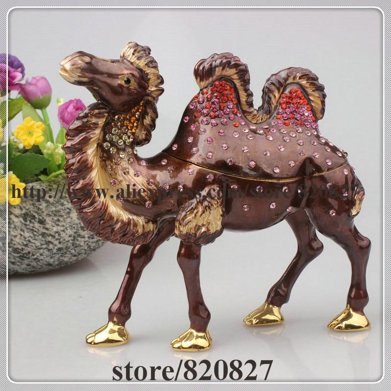 купить Large Camel (Two Hump) Jeweled Trinket Box with Czech Crystal Trinket Box Camel Enamel Figurine Metal Big Camel Display онлайн