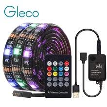 Tira de luz de led usb, controle remoto para música com rf, luz flexível ip20/ip65, 5050 rgb, iluminação de fundo de tv