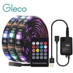 USB Светодиодная лента с радиочастотным пультом дистанционного управления музыкой IP20/IP65 Гибкая полоса светильник 5050 RGB ТВ фоновый светильни...