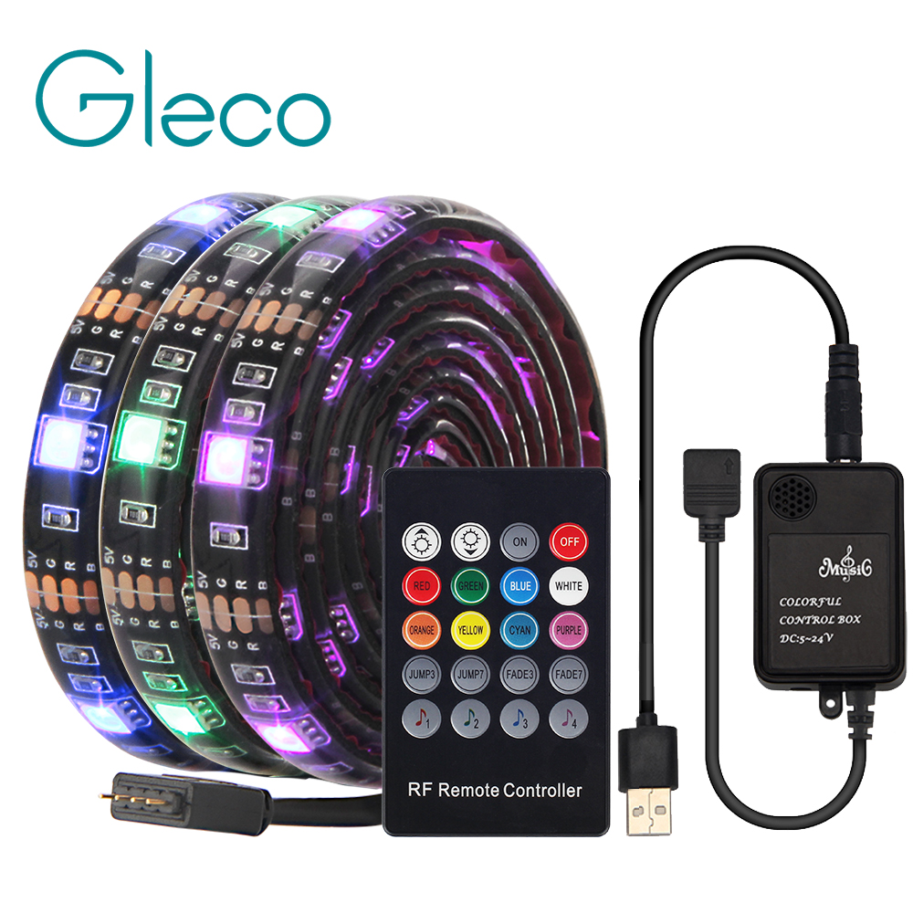 USB LED Strip with RF Remote Music controller IP20 IP65 Flexible Strip Light 5050 RGB TV Background Lightgting