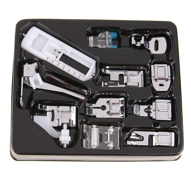 11Pcs Mini Domestic Sewing Machine Presser Foot Feet Kit Set Braiding Blind Stitch Darning For Brother Singer Janome(front ) flower stitch 3700l 5021l round stitch flower presser foot for brother singer janome pfaff viking sewing machine