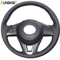 Leather DIY Car Steering Wheel Cover Case for Mazda CX 5 CX5 Atenza 2014 New Mazda 3 CX 3 2016 Scion iA 2016 Car Accessories