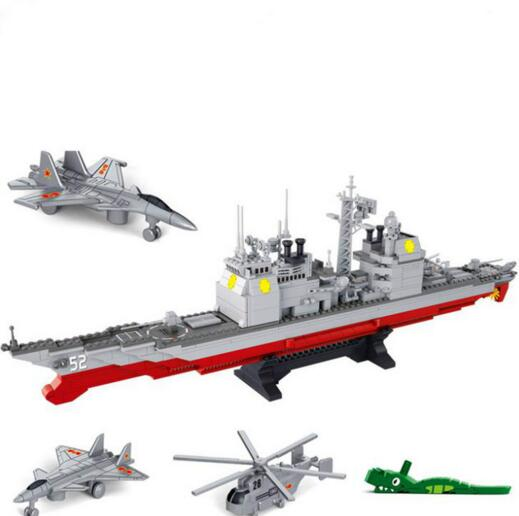 Sluban Military Series Army NAVY Warship Model Building Blocks CRUISER Plane Carrier Bricks Gift Compatible with Legoe 883PCS sluban military series nuclear submarine and service stations model building blocks toys for children compatible with legoe sets