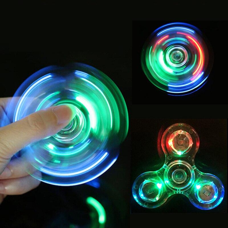Tri-Spinner Transparent LED Light Hand Spinner Transparent Crystal Colorful Fidget Spinner Anti Stress Fingertip Toys DS39