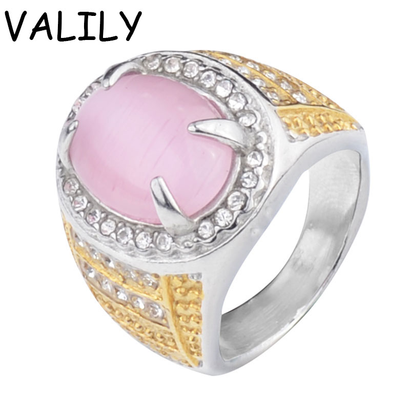 Valily Jewelry Mens Ring Prong Setting Pink Cat Eye Ring