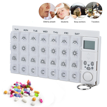7 Days Tablets Pill Box Medicine Pill Case Organizer LED Light Timer Reminder Weekly Storage Pill Dispenser Alarm Clock 28 Grids 2016 new electronictimer digital 7 days pill reminder organizer pill box case timing splitters case health care medicine timer