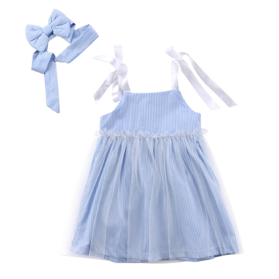 2Pcs Newborn Kids Baby Girls Striped Lace Tulle Dress Sleeveless Clothes Summer Blue 0-4T