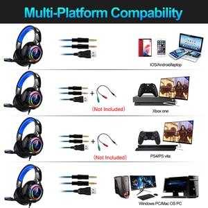 Image 4 - 7,1 Sound PS4 Gaming Headset casque Wired PC Stereo Kopfhörer Kopfhörer mit Mikrofon für Neue Xbox/Laptop Tablet Gamer