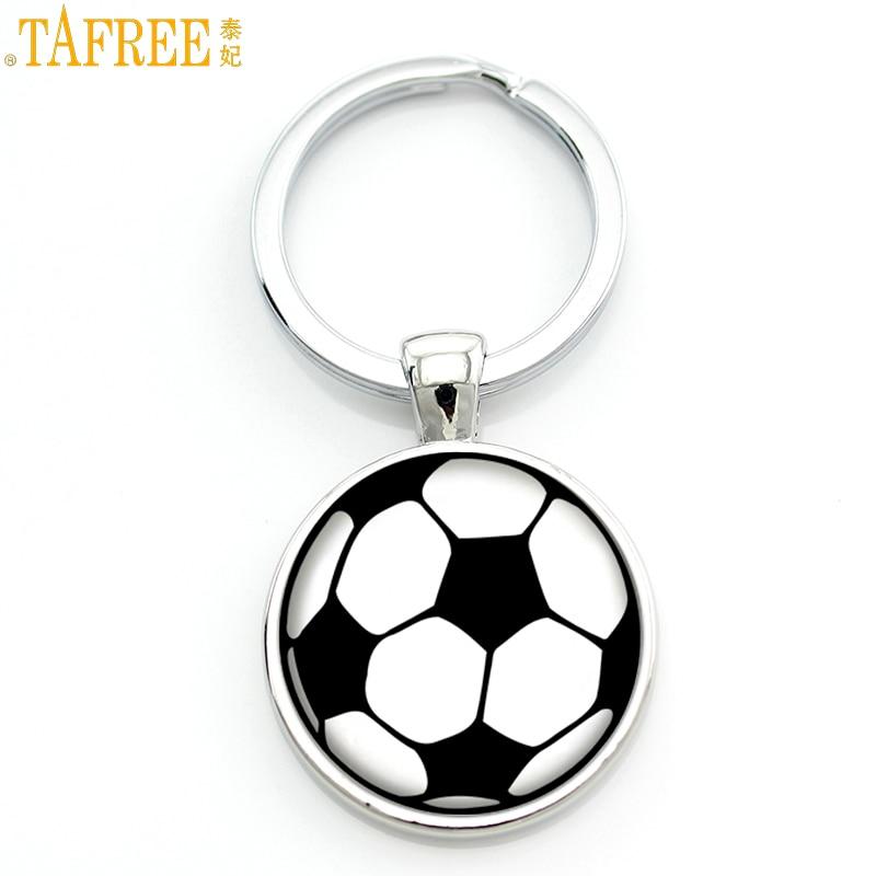 TAFREE vintage Football Soccer keychain exquisite handmade glass metal pendant key chain rign holder for men women car bag SP709 soccer-specific stadium