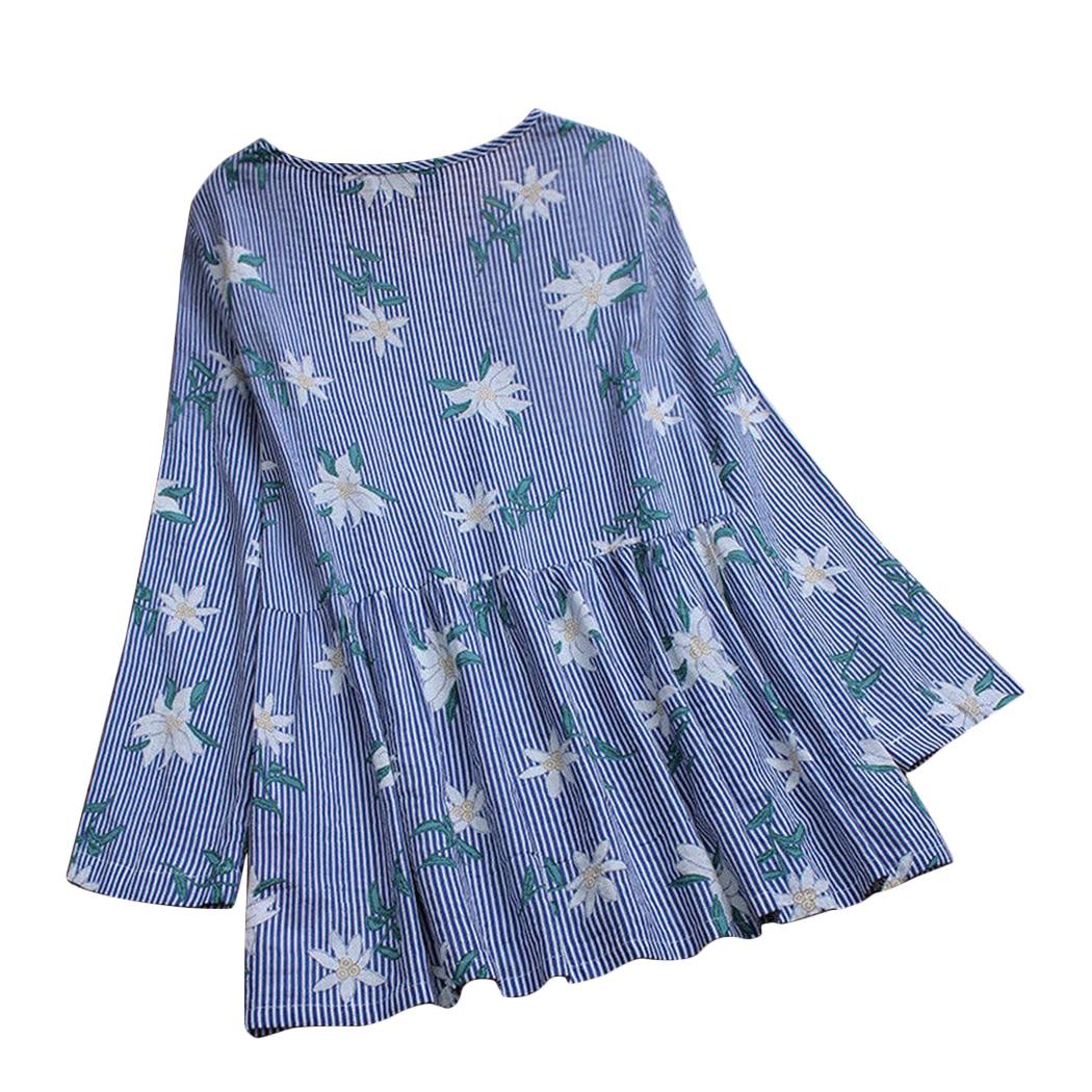 L-5XL Cotton Linen Women Blouse Casual Loose Baggy Tunic Tops Floral Printed Long Sleeve Ladies Shirts Plus Size Blusas Feminina